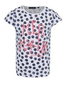 Modro-bílé holčičí puntíkované tričko s potiskem Blue Seven