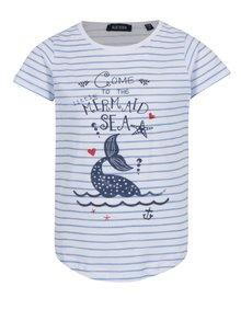 Modro-biele dievčenské pruhované tričko s potlačou Blue Seven