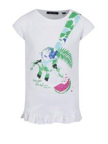Biele dievčenské tričko s volánom na spodnom leme Blue Seven