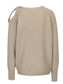 Béžový svetr se zavazováním a průstřihem na rameni VILA Ril