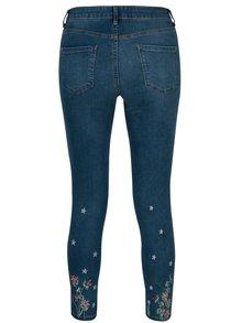 Modré zkrácené regular skinny džíny s vyšívanými květy Dorothy Perkins