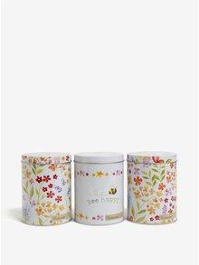 Súprava troch kvetovaných dóz v bielej farbe Cooksmart