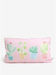 Svetloružový vankúš s motívom kaktusov Sass & Belle