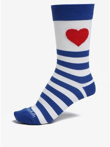Modro-biele pruhované unisex ponožky Fusakle Zamilovaný námorník