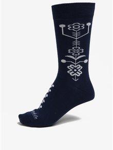 Modro-biele vzorované unisex ponožky Fusakle Modrotlač
