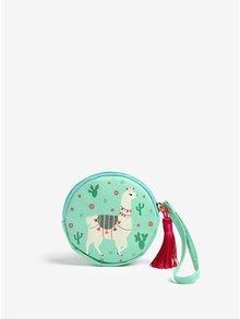 Zelená dievčenská peňaženka s motívom lamy Sass & Belle