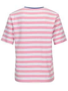 Bílo-růžové pruhované volné tričko ONLY Live Love