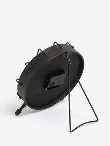 Tmavosivé kovové stolné hodiny Kaemingk