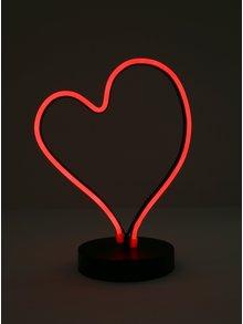 Čierno-červená svietiaca LED lampa v tvare srdca Kaemingk