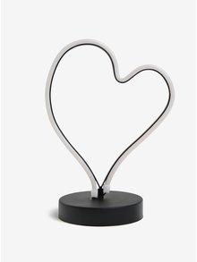 Černo-červená svítící LED lampa ve tvaru srdce Kaemingk