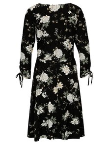 Rochie neagra cu print floral si cordon in talie - Dorothy Perkins