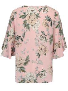 Bluza roz cu print floral si maneci 3/4 - Dorothy Perkins Curve