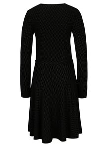 Čierne bodkované šaty s prekladaným výstrihom Dorothy Perkins Tall