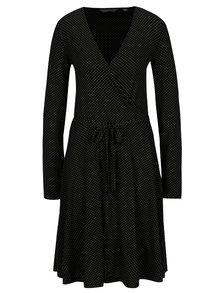 Černé puntíkované šaty s překládaným výstřihem Dorothy Perkins Tall