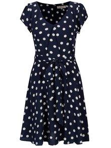 Rochie bleumarin cu buline si pliu decorativ - Billie & Blossom