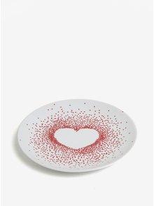 Farfurie alb prafuit din portelan cu print buline inima - Kaemingk