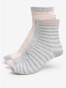 Súprava troch párov dievčenských vzorovaný ponožiek v sivo-marhuľovej farbe 5.10.15.