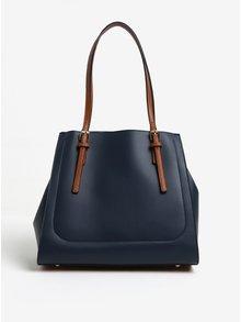 Hnedo-modrá koženková kabelka Gionni Alma