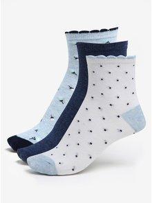 Súprava troch párov dievčenských ponožiek v bielej a modrej farbe 5.10.15.