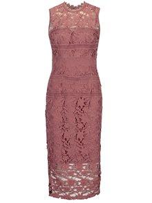 Ružové čipkované šaty bez rukávov Little Mistress