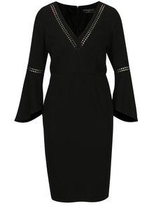 Čierne puzdrové šaty so zvonovými rukávmi Paper Dolls
