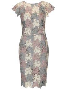 Krémovo–sivé čipkované šaty s výstrihom na chrbte Paper Dolls