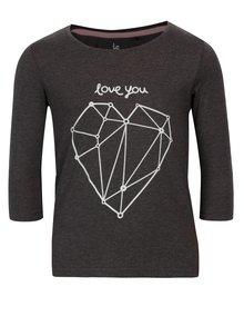 Tmavosivé dievčenské tričko s potlačou srdca 5.10.15.