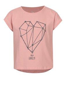 Ružové dievčenské tričko s potlačou srdca 5.10.15.