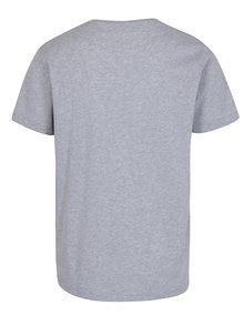 Šedé pánské žíhané tričko s potiskem Makia Crown