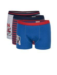 Súprava troch chlapčenských vzorovaných boxeriek modrej, červenej a sivej farby 5.10.15.