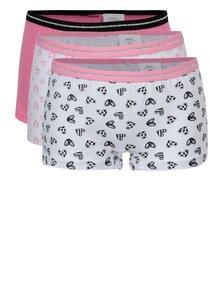 Sada tří holčičích vzorovaných kalhotek v růžové a bílé barvě 5.10.15.