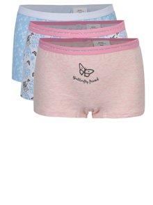 Súprava troch dievčenských vzorovaných nohavičiek v modrej a ružovej farbe 5.10.15.
