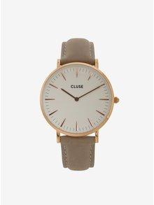 Dámske hodinky v zlatej farbe s vymeniteľnými koženými remienkami v čiernej a sivej farbe CLUSE