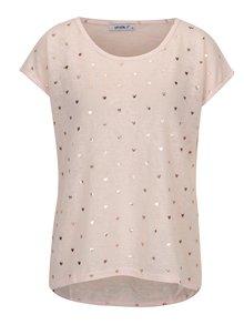 Tricou roz deschis cu print inimi - Haily´s Gini