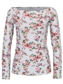 Biele kvetované tričko s lodičkovým výstrihom Haily's Estelle