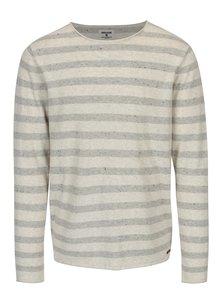 Sivo-krémový pruhovaný sveter Garcia Jeans