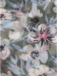 Ružovo-zelená kvetovaná šatka Pieces Marcia