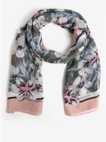 Esarfa roz & verde si print floral - Pieces Marcia