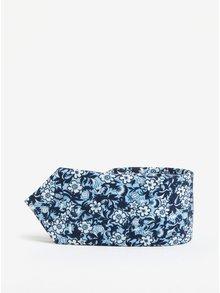 Cravata bleu din matase cu print floral -  Jack & Jones Premium Crussel