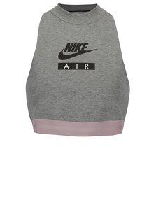 Sivý športový crop top bez rukávov Nike