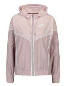Staroružová dámska šušťáková bunda s kapucňou Nike