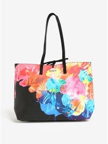 Geanta shopper cu geanta crossbody 2 in 1 negru cu print floral Desigual Corel Seattle