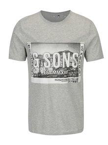 Tricou gri melanj cu print din bumbac - ONLY & SONS Stuart