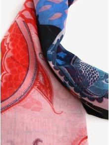 Modro-červený šátek s ornamenty Desigual California