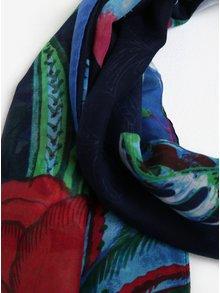 Esarfa bleumarin cu print multicolor Desigual Birdpalm
