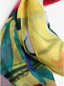 Esarfa galbena cu print multicolor Desigual Gardenette