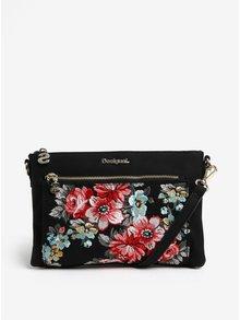 Čierna crossbody kabelka s kvetinovou výšivkou Desigual Terranova