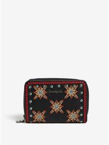 Čierna peňaženka s farebnými vyšitými ornamentami Desigual Sandy