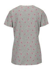 Svetlosivé tričko s potlačou plameniakov Jacqueline de Yong Perfect