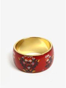 Bratara lata metalica rosie cu print floral  Desigual Vilma Liana